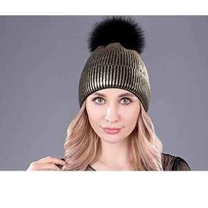 Gold And Silver Metallic Beanies